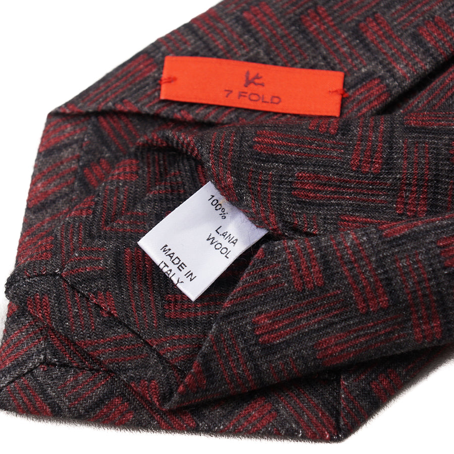Isaia Chevron Patterned Wool Tie