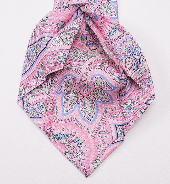 Isaia Pink Intricate Paisley Silk Necktie - Top Shelf Apparel - 4