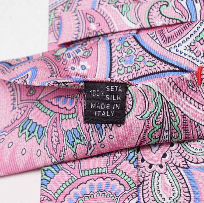 Isaia Pink Intricate Paisley Silk Necktie - Top Shelf Apparel - 5