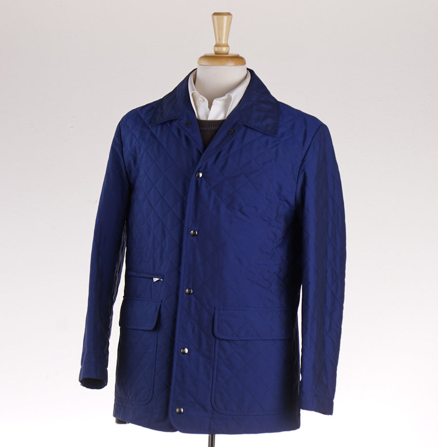 Isaia Quilted Royal Blue Aqua Canvas Jacket