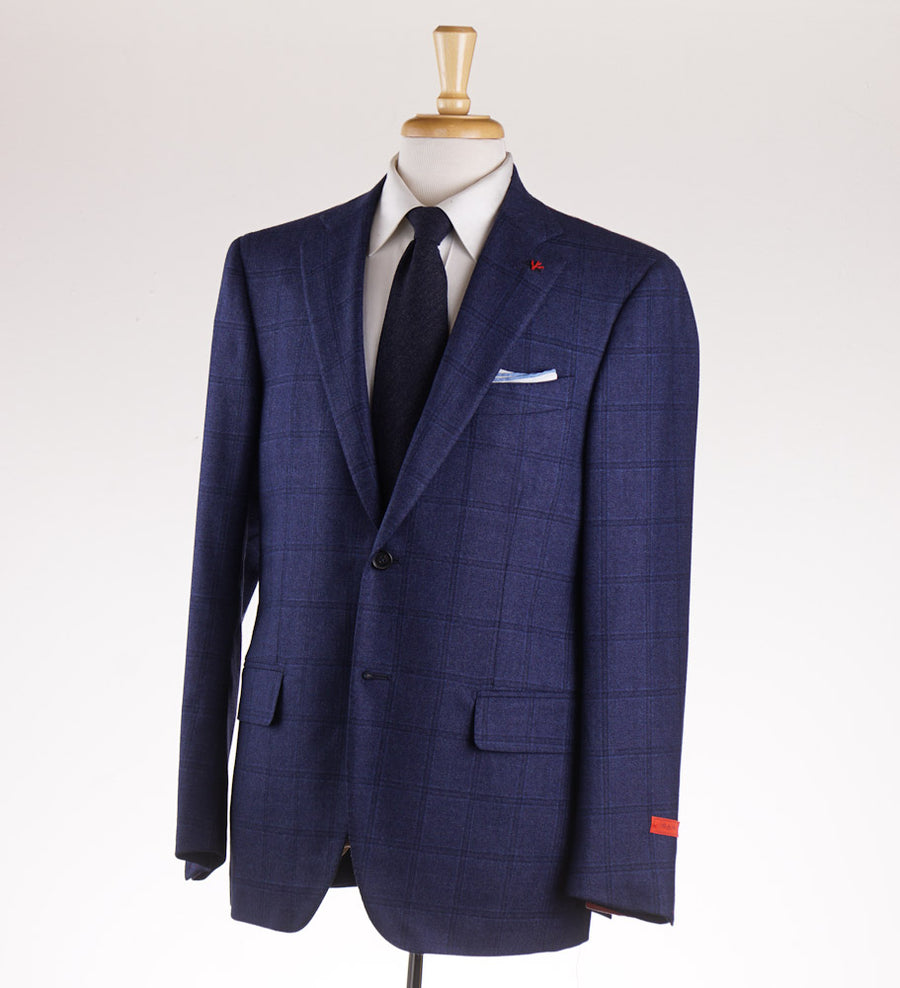Isaia Blue Windowpane Check Wool Sport Coat - Top Shelf Apparel