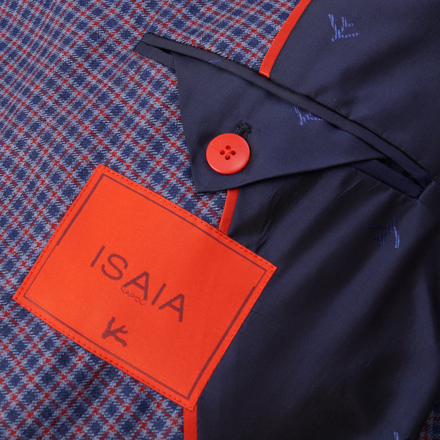 Isaia Blue and Red Check Aqua Cashmere Sport Coat