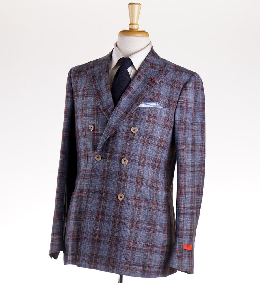 Isaia Blue and Red Check Double Breasted Sport Coat