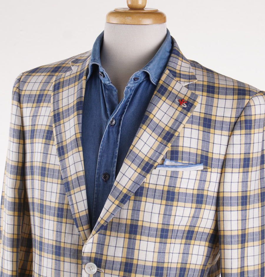 Isaia Blue and Yellow Check Wool-Linen Sport Coat - Top Shelf Apparel