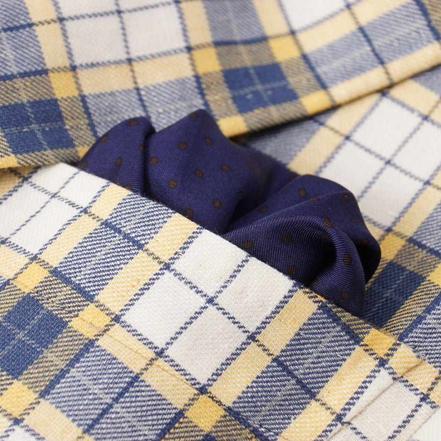 Isaia Blue and Yellow Check Wool-Linen Sport Coat