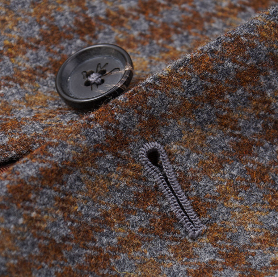 Isaia Gray-Brown Check Wool Sport Coat