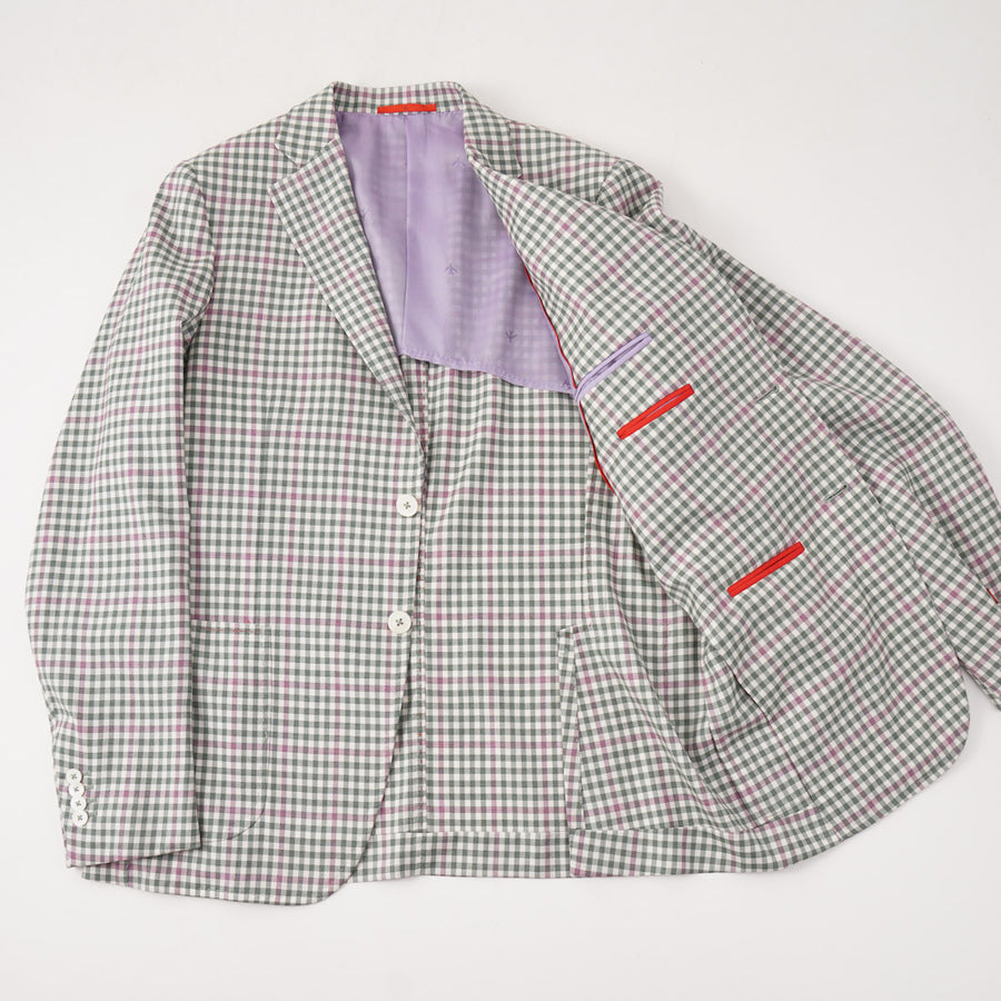 Isaia Green and Pink Check Wool Sport Coat