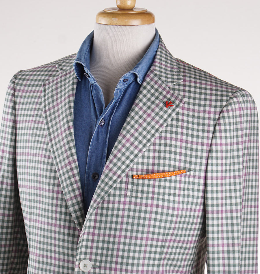 Isaia Green and Pink Check Wool Sport Coat - Top Shelf Apparel