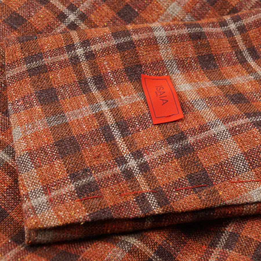 Isaia Orange Check Silk-Linen-Wool Sport Coat