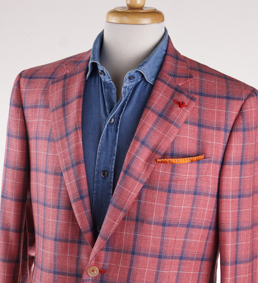 Isaia Pink and Blue Check Summer Delain Sport Coat - Top Shelf Apparel