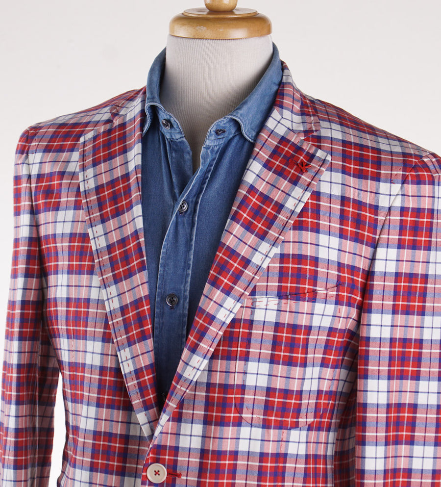 Isaia Red Check Lightweight Sport Coat