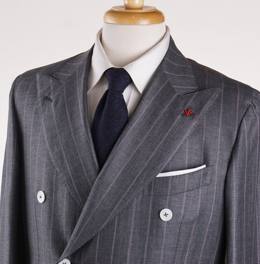 Isaia Gray and Pink Striped Wool-Linen Suit - Top Shelf Apparel