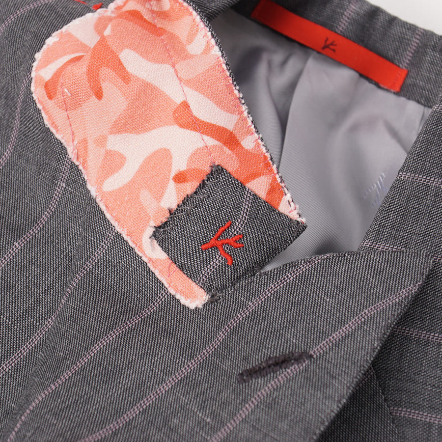 Isaia Gray and Pink Striped Wool-Linen Suit