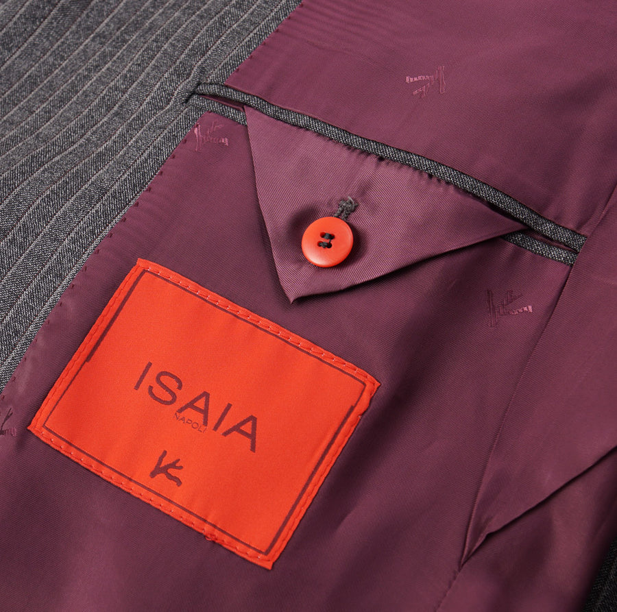 Isaia Gray and Burgundy Striped Wool Suit