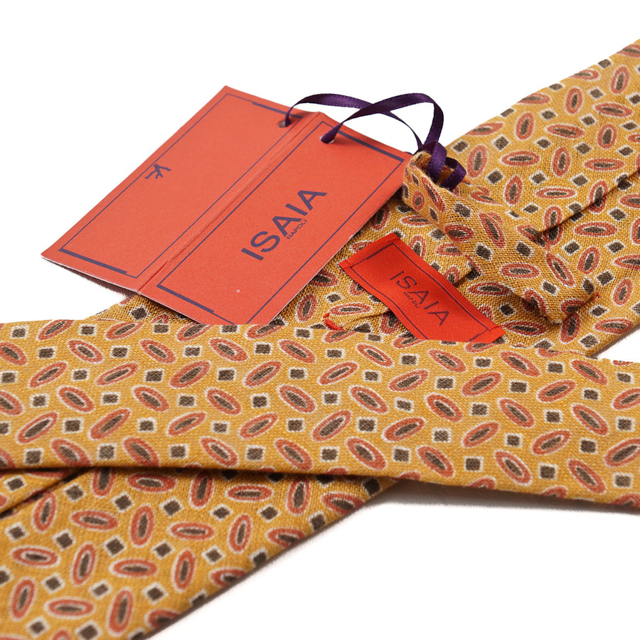 Isaia 7-Fold Printed Linen Tie