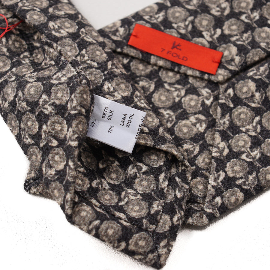 Isaia Floral Print Wool and Silk Tie