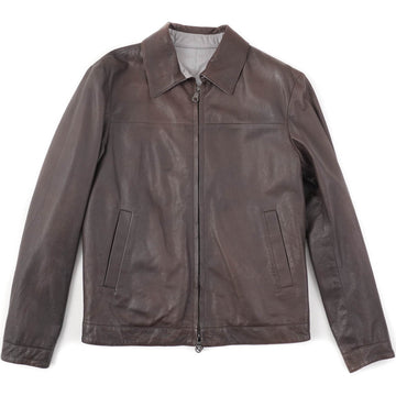 Isaia Reversible Brown Leather Jacket
