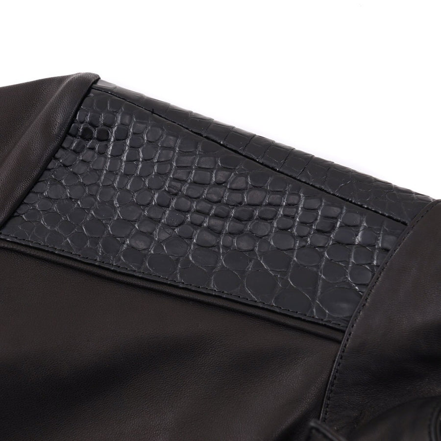 Kiton Black Leather and Crocodile Moto Jacket