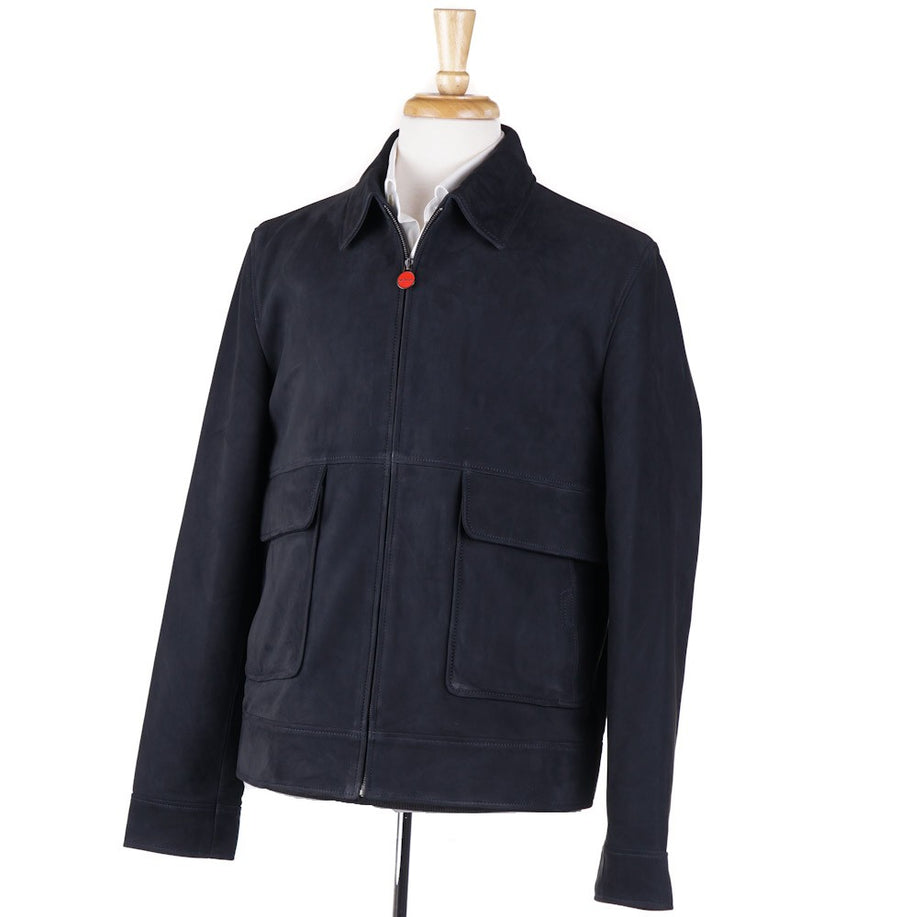Kiton Nubuck Leather Jacket in Navy Blue