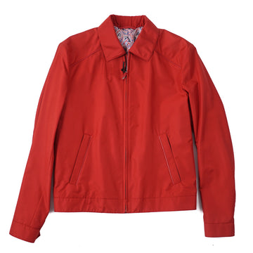 Brioni Silk Bomber Jacket with Leather Details