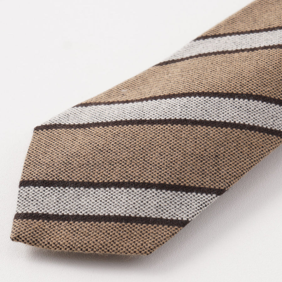 Kiton Tan and Gray Striped Cashmere Tie - Top Shelf Apparel