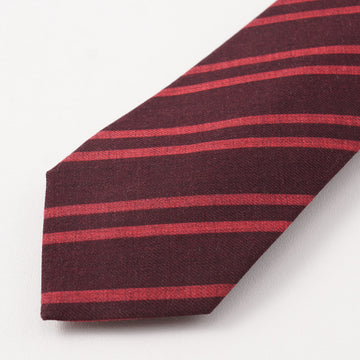Kiton Burgundy and Pink Striped Wool Tie