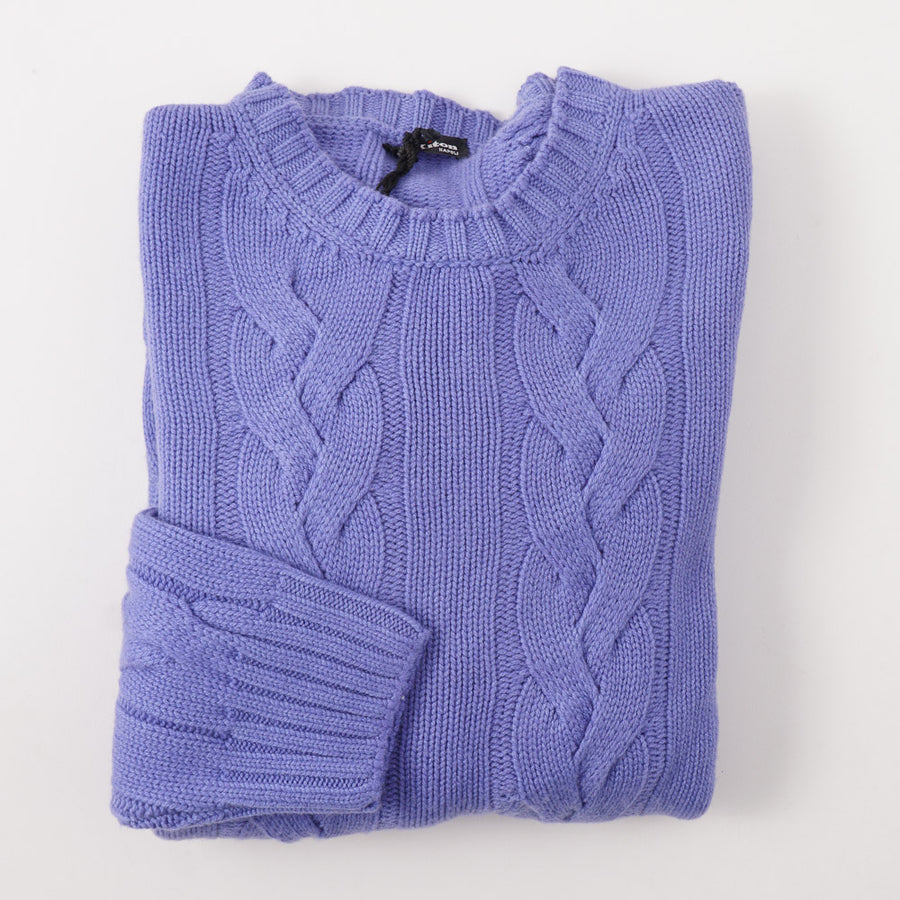 Kiton Cable Knit Regal Cashmere Sweater in Cornflower - Top Shelf Apparel