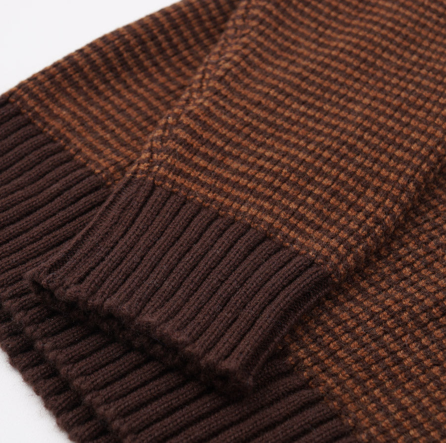 Kiton Rust Brown Birdseye Cashmere Sweater