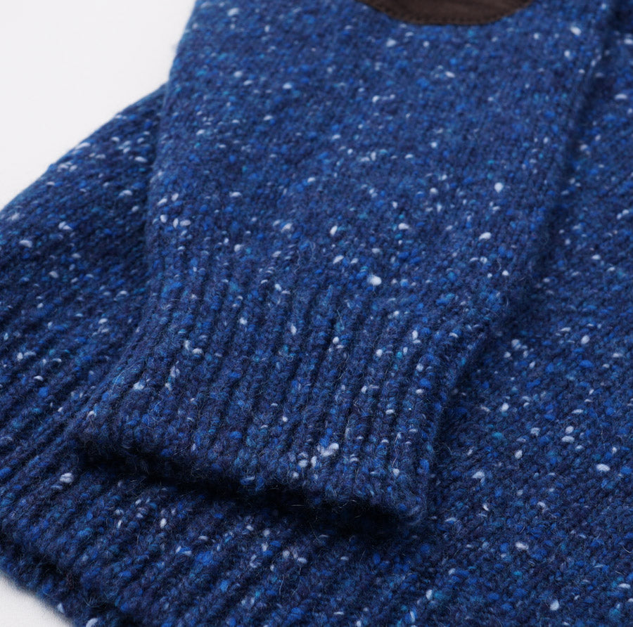Leather-Detailed Blue Melange Cashmere Sweater
