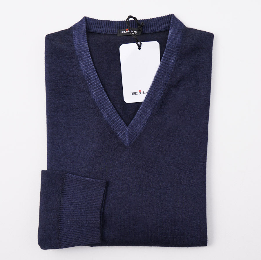 Kiton Dark Blue Fine-Gauge Cashmere Sweater