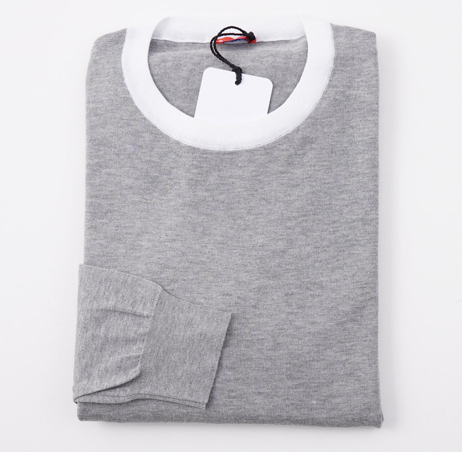Kiton Gray Tipped Cotton Sweater