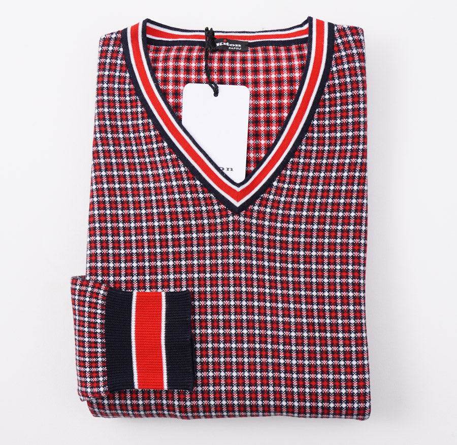 Kiton Red and Navy Check Cotton Sweater