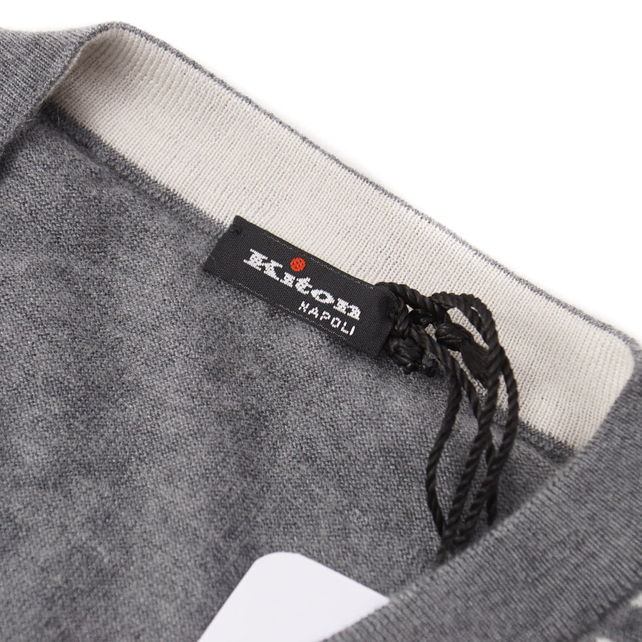 Kiton Gray Patterned Lightweight Cashmere-Silk Sweater