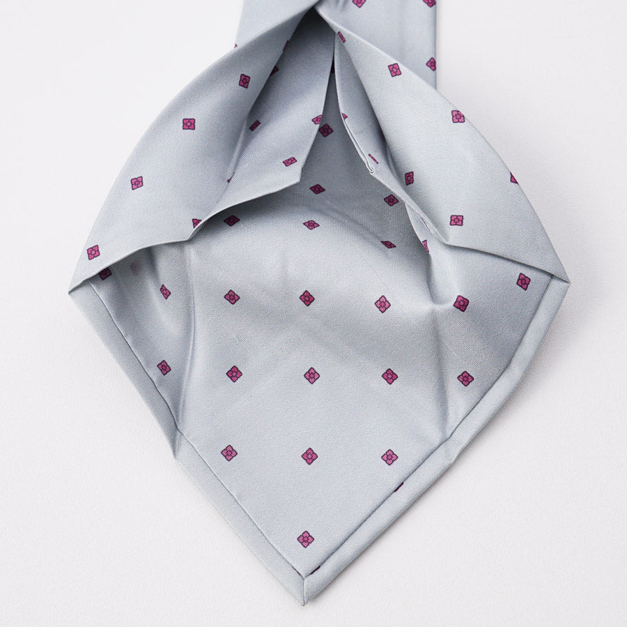 Kiton Gray and Pink Floral Silk Tie - Top Shelf Apparel