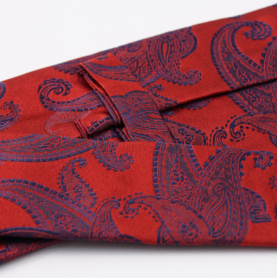 Kiton Red and Navy Paisley Silk Tie