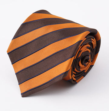 Kiton Brown and Orange Striped Silk Tie