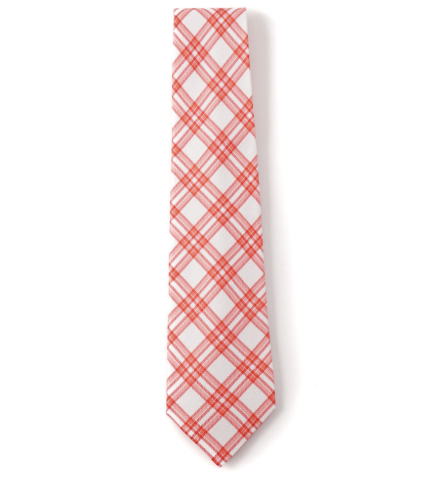 Kiton White and Red Check Print Linen Tie