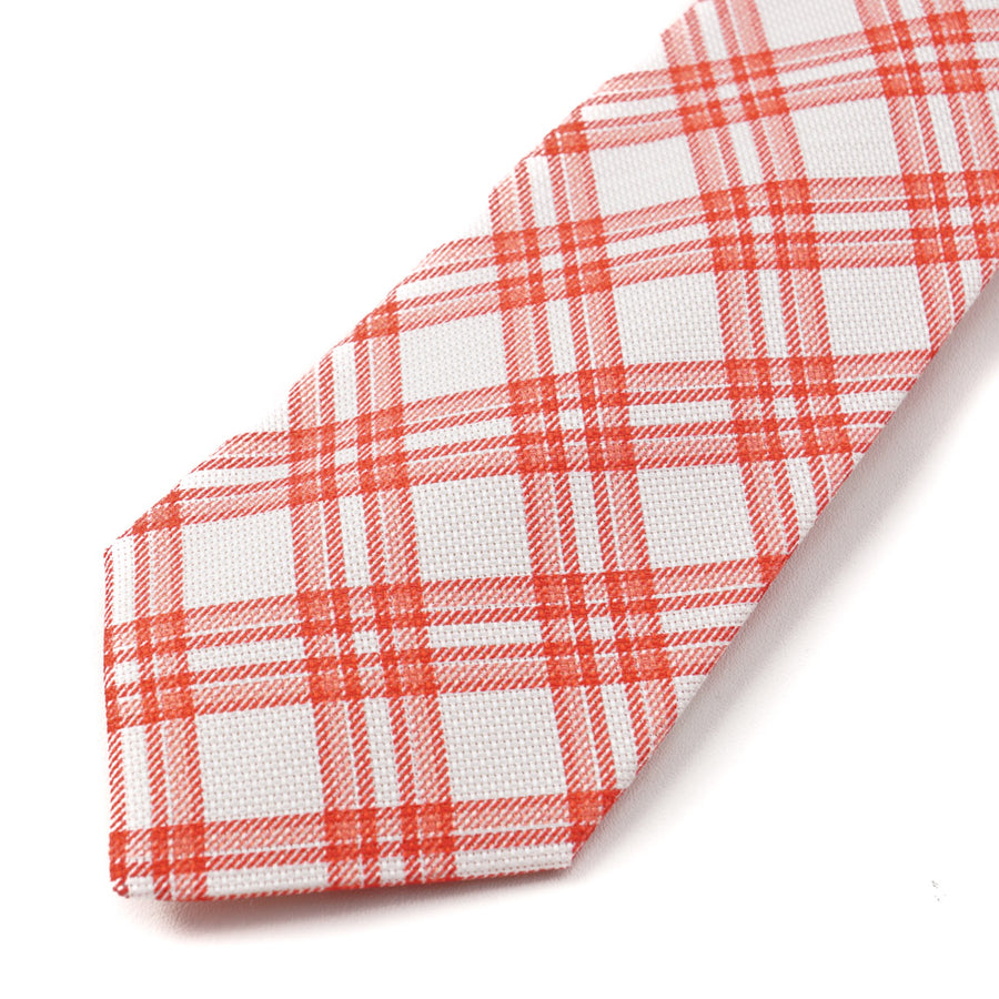 Kiton White and Red Check Print Linen Tie - Top Shelf Apparel