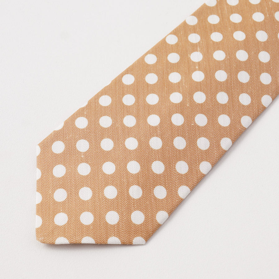 Kiton Tan Dot Print Silk and Linen Tie