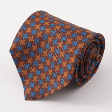 Kiton Brown and Blue Houndstooth Cashmere Tie