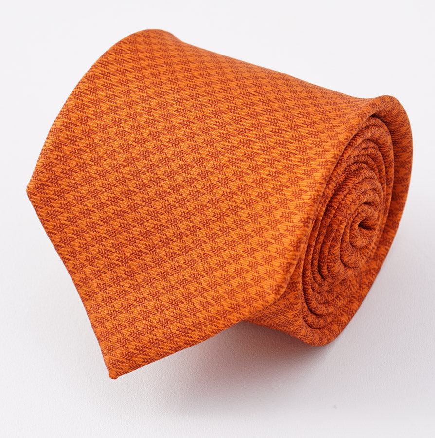 Kiton Orange Houndstooth Check Silk Tie