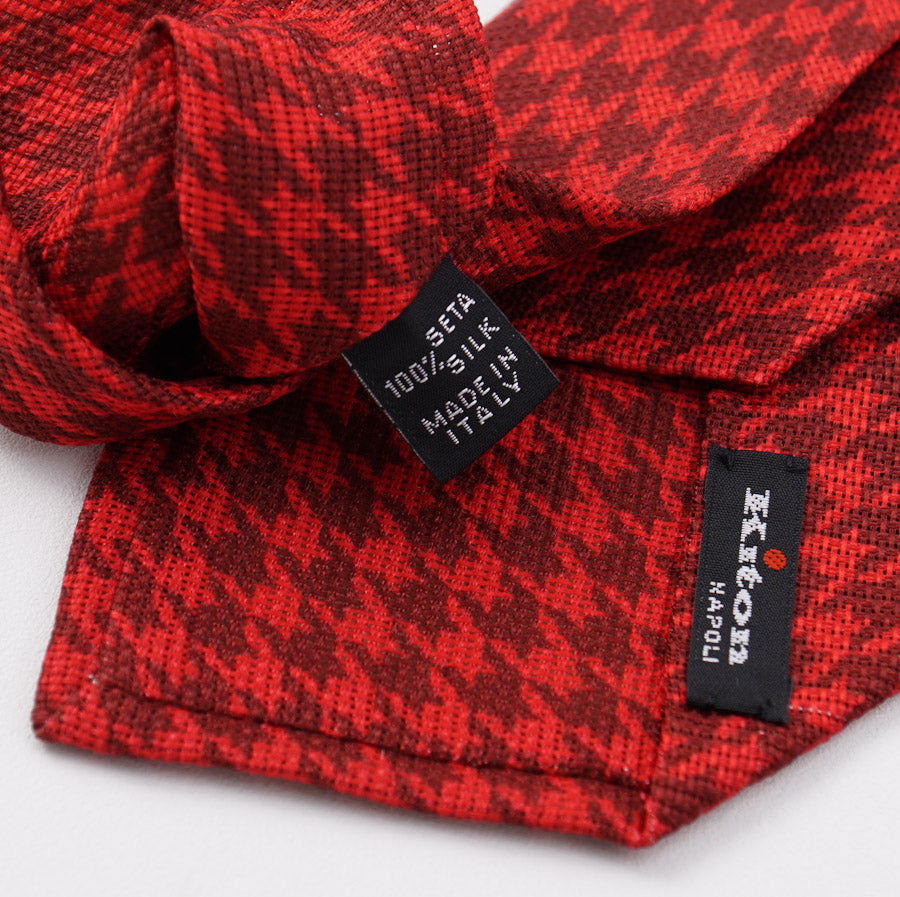 Kiton Red Houndstooth Check Silk Tie