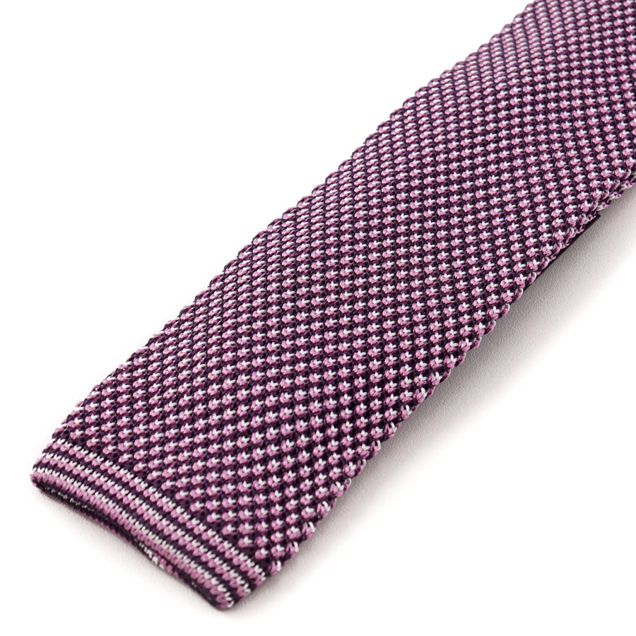 Kiton Pink and Purple Knit Silk Tie - Top Shelf Apparel