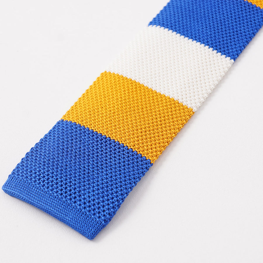 Kiton Blue and Yellow Striped Knit Silk Tie - Top Shelf Apparel