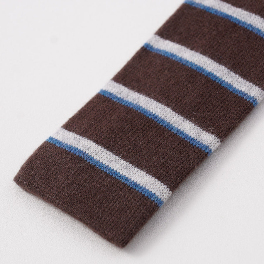 Kiton Brown and Blue Striped Knit Cashmere Tie