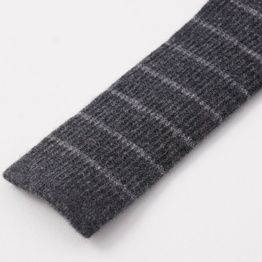 Kiton Gray Striped Knit Cashmere Tie