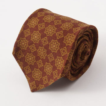 Kiton Brown and Olive Medallion Cashmere Tie
