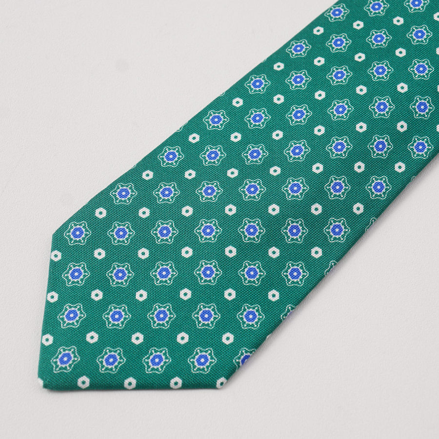 Kiton Green and Blue Floral Medallion Silk Tie