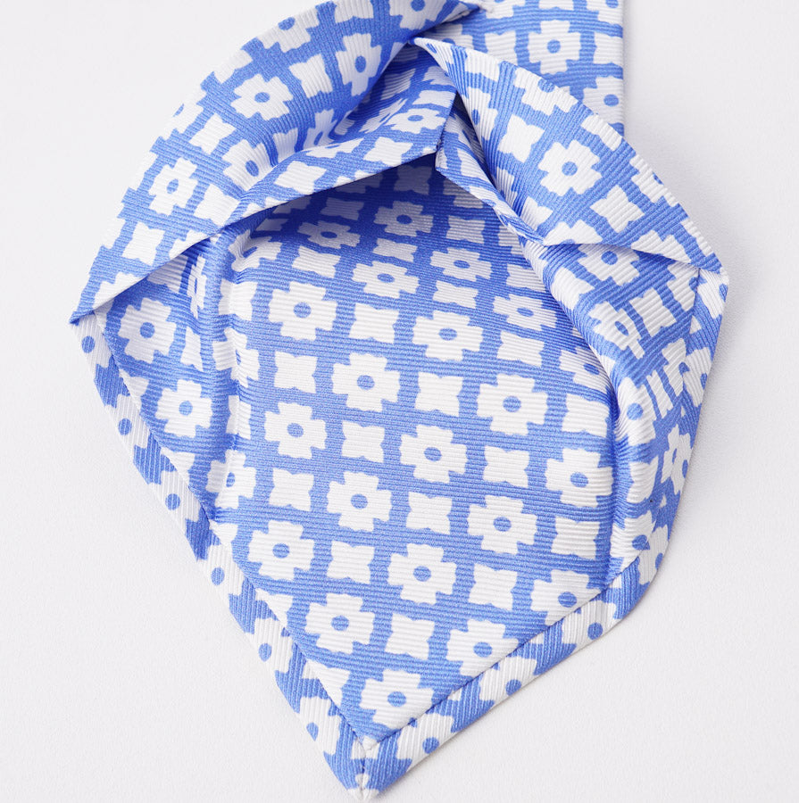 Sky Blue Floral Medallion Silk Tie - Top Shelf Apparel