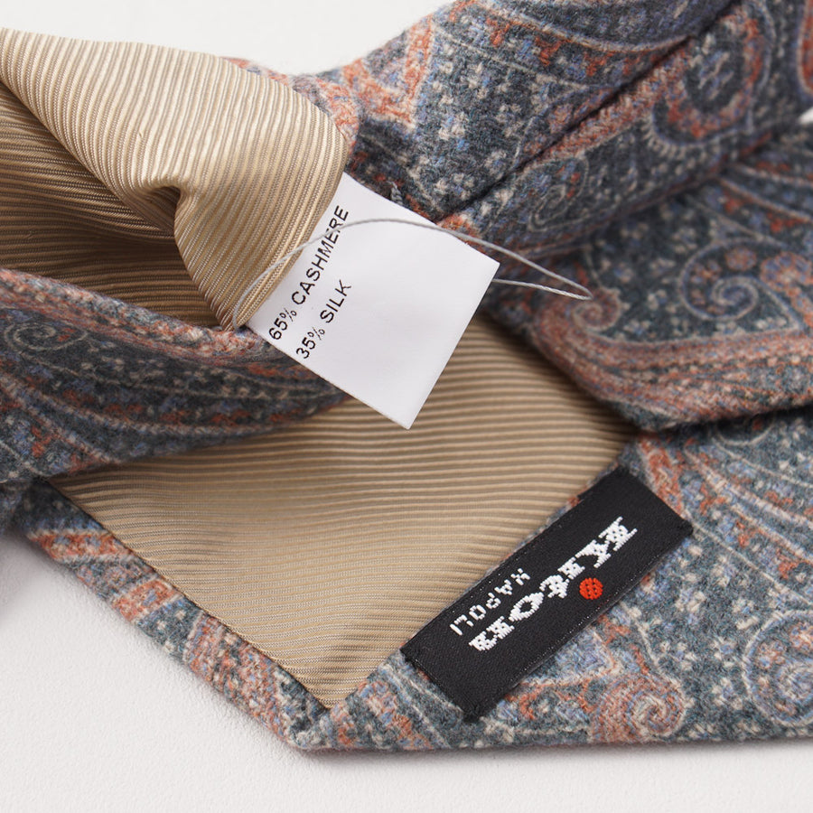 Kiton Gray-Blue and Orange Paisley Cashmere Tie - Top Shelf Apparel